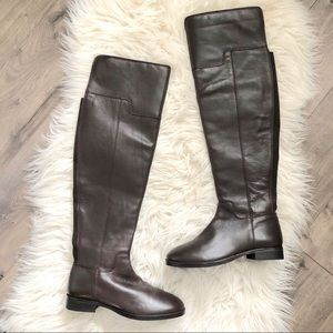 NWOB Aldo OTK Chocolate Brown Leather Boots